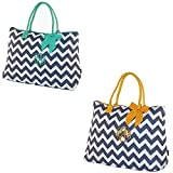 Personalized Quilted Chevron Large Womens Tote Bags