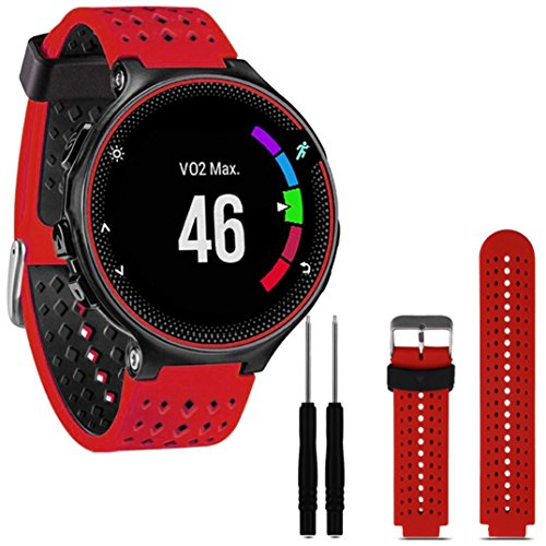Paymenow Soft Silicone Watch Band Replacement Band Wrist Strap Wristband Replacement Strap Bracelet for Garmin Forerunner 230/235/630 (Red)
