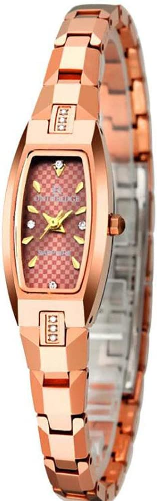 ZUZHEN Mujer Dama Elegante Diamante rectángulo Reloj de Acero de tungsteno,C