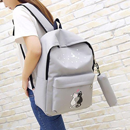 imprimir gato Mochila de unisex Espeedy bandolera de escuela conjunto gris la estuche bolso mochila mochila escuela cute 4 piezas adolescentes bolsos zqwq8dA