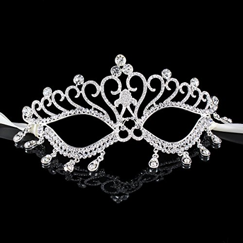 Stuffwholesale Silver Party Dance Masks with Crystal Rhinestone Masquerade Decorative Mask (#2)
