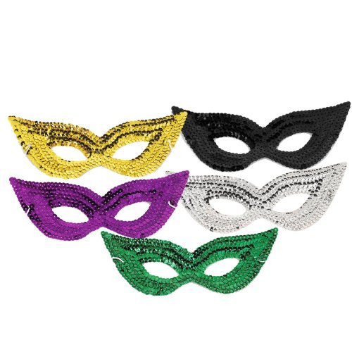 Forum Novelties Black Sequin Harlequin Eye Mask, One Size -
