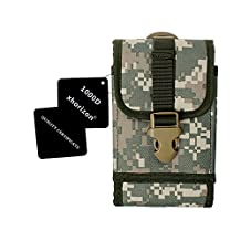 xhorizon ™ 1000D Nylon Army Camo Touch Duty Tactical MOLLE Universal Compatible Multipurpose Big Capacity Oversize Outdoor Camping Hiking Cycling Travel Smartphone Holster EDC Carry Accessory Pouch Case Waist Pack Bag with Belt Loop & Adjustable Lock Latch ZA5 Wallet Pocket For iPhone 6 (4.7 inch) iPhone 6 Plus (5.5 inch) Samsung Galaxy Note (i9220) Note II Note III Note 4 Note Edge N9150 Galaxy S5 (i9600) S6 (G9200) S6 Edge (G9250) LG G2/G3/G4 Sony Xperia Z3 Z3+(Z4) New Moto G/E/X BLU Studio