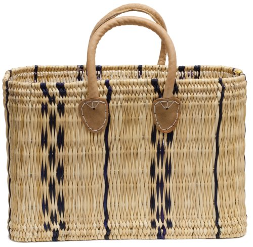 Moroccan Straw Market Bag w/ Dyed Striped Pattern, 17