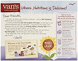 Van\'s, PB&J Blueberry Sandwich Bars, 5 Count