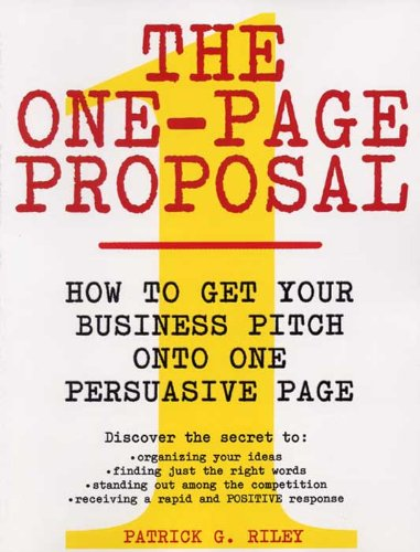 Amazon the one page proposal how to get your business pitch the one page proposal how to get your business pitch onto one persuasive page fandeluxe Images