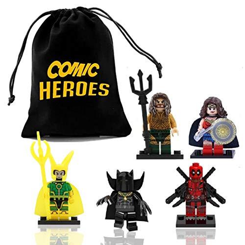 fat cat sales Superhero, Justice League, & Other Comic Mini Figures - Aquaman, Wonder Woman, Loki, Black Panther, Deadpool, Building Interlocking Block Brick Toys