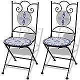 vidaXL Mosaic Bistro Chair Blue/White Set of 2