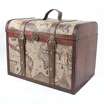 Baúl de madera grande de lujo con diseño de globo terrá