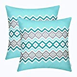CaliTime Pack of 2 Soft Canvas Throw Pillow Covers Cases for Couch Sofa Home Decor Bohemian Style Colorful Zigzag Striped Geometric 18 X 18 inches Turquoise