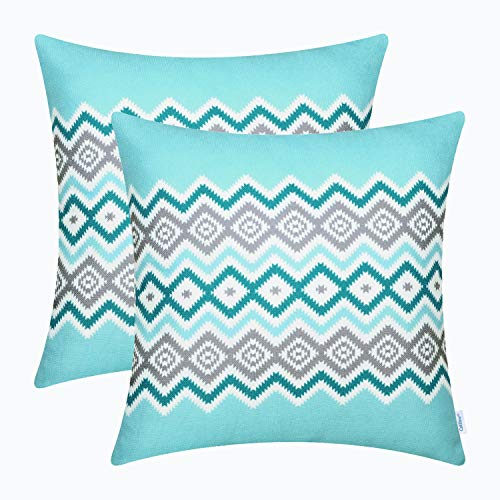 - CaliTime Pack of 2 Soft Canvas Throw Pillow Covers Cases for Couch Sofa Home Decor Bohemian Style Colorful Zigzag Striped Geometric 18 X 18 inches Turquoise