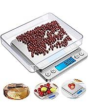 BOBO-Y Básculas para Alimentos de Cocina,2 Bandejas Balanza digital de Acero Inoxidable, 3000g / 0.1g, pantalla LCD grande y diseño de plataforma de pesaje grande ultra delgado de acero inoxidable para cocinar ,hornear y joyería