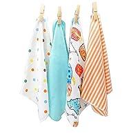 "CuteOn 4 PCS Reusable Newborn Baby Washcloth Feeding Wipe Cloth Mini Baby Towels Blue 11.02"" x 11.02"""