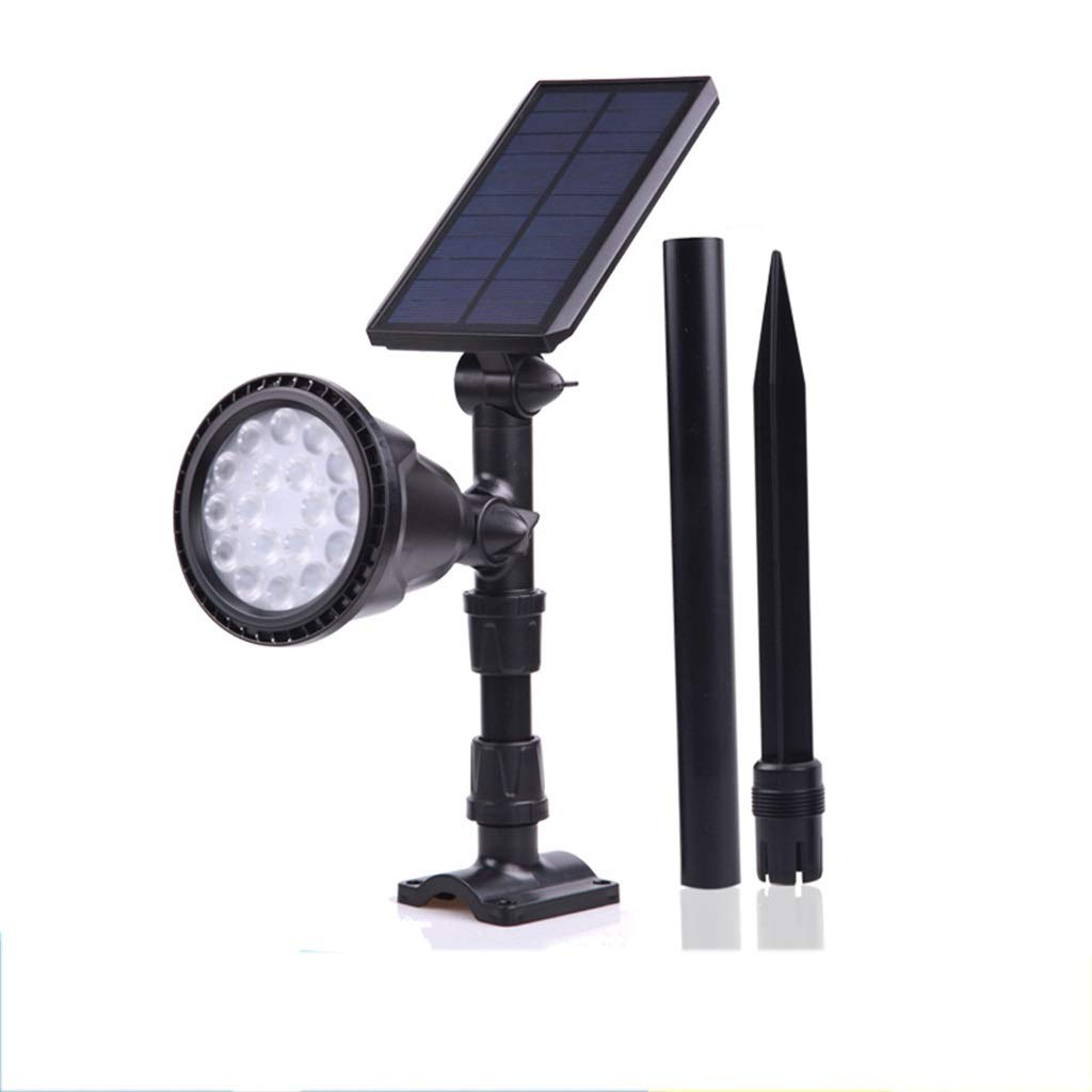 Faretto solare, impermeabile 2 in 1 LED luce solare paesaggio regolabile applique da parete, induzione automatica On Off illuminazione esterna cortile di sicurezza (colore caldo)