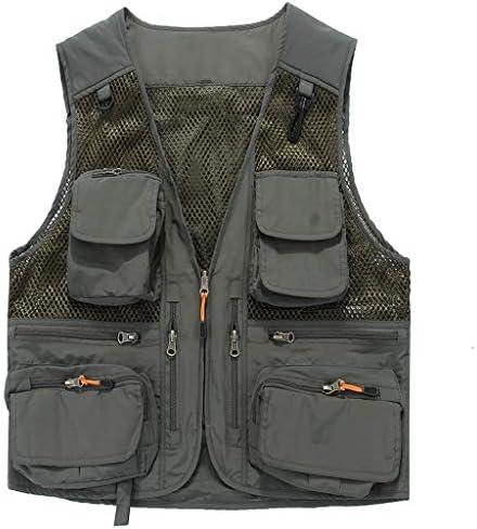QIQIDEDIAN 釣りベスト マルチポケット釣り薄い写真屋外夏速乾性ベスト通気性メッシュを身に着けているベスト男性外 (Color : Gray, Size : L)