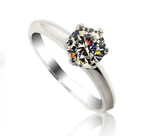Weiss Vergoldet 1ct Synthetische Diamant Damen Ring Verlobungsring