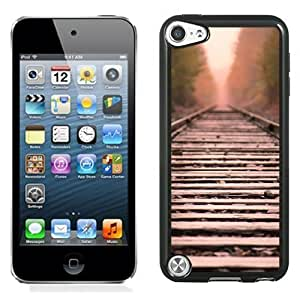 NEW Unique Custom Designed iPod Touch 5 Phone Case With Train Tracks Straight Line_Black Phone Case