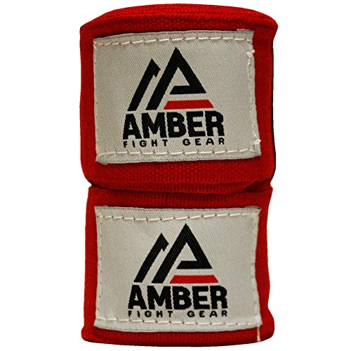 """Amber Fight Gear Semi Elastic Professional 180"""" Hand Wraps with Hook and Loop Closure for Boxing Kickboxing Muay Thai…"""