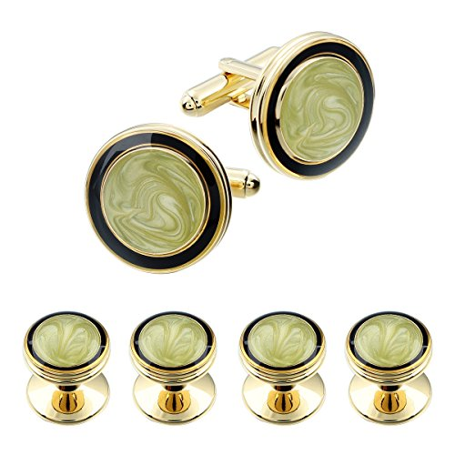 AMITER Cufflinks and Tuxedo Shirt Studs Set for Men in Gold Tone Round Shape with Gift Box - Men Wedding Business Accessories