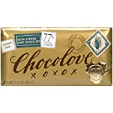 Chocolove Chocolate Bar, 77% Extra Strong Dark, 3.2 Ounce (Pack of 12)