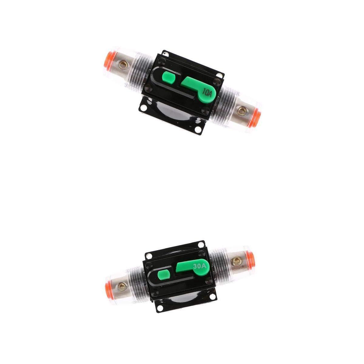 perfk 2Pack 10Amp&30Amp Manual Reset Circuit Breaker 12V-32V DC Car Audio Marine Boat Universal