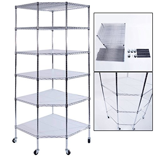 g Heavy Duty Commercial Polygonal Corner Shelf Wire Shelving Unit Adjustable Storage Rack Free Standing Garage with 5 Wheels 26 4/5 L x 26 4/5 W x 71