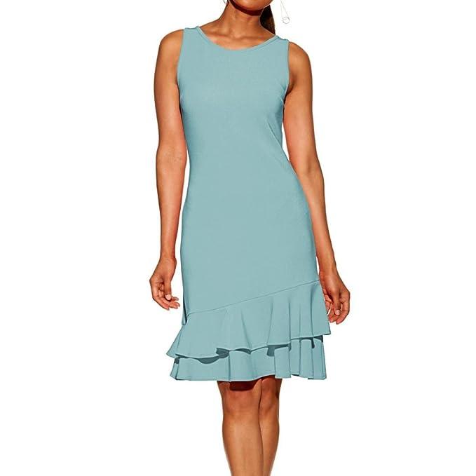 c3357627afc5 LeeY Damen Ärmellos Sommerkleid Minikleid Strandkleid Partykleid Rundhals  Rock Mädchen Casual Einfarbig Rüschen Kleider Frauen Mode