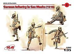 ICM 1/35 Scale German Infantry in Gas Masks (1918) (4 figures) - WWI German Army Figures Model Building Kit # 35695