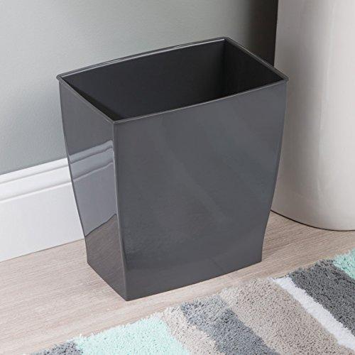 mDesign Wastebasket Trash Can - Rectangular, Slate
