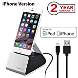 Avantree iPhone Lightning Charging Dock Station, Aluminum Charger Stand Cradle for iPhone X, 8, 8 Plus, 7, 6s, 6, iPod Touch [Apple MFi Certified Sync Charge Cable Included]