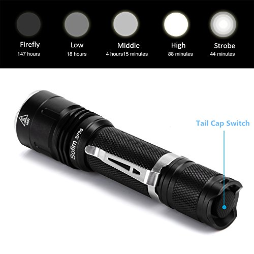 Sofirn SF36 LED Flashlight Powerful 1100 Lumens LED Flashlight Torch Cree V6 LED Compact Camping Emergency Searchlight IPX8 Waterproof Multiple Modes Powered by 1x 18650 Lithium Battery (Excluded) by Sofirn (Image #1)