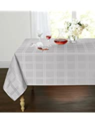 Spill Proof/Stain Resistant Plaid Tartan Fabric Tablecloth By GoodGram    Assorted Colors U0026 Sizes (60 In. Round, Gray)
