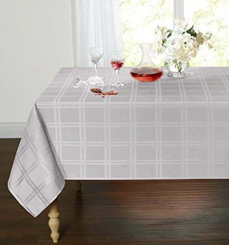Spill Proof/Stain Resistant Plaid Tartan Fabric Tablecloth by GoodGram - Assorted Colors & Sizes (60 in. Round, Gray)