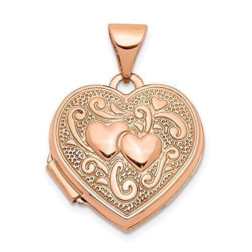 14k Rose Gold 15mm Heart Photo Pendant Charm Locket Chain Necklace That Holds Pictures Fine Jewelry Gifts For Women For Her
