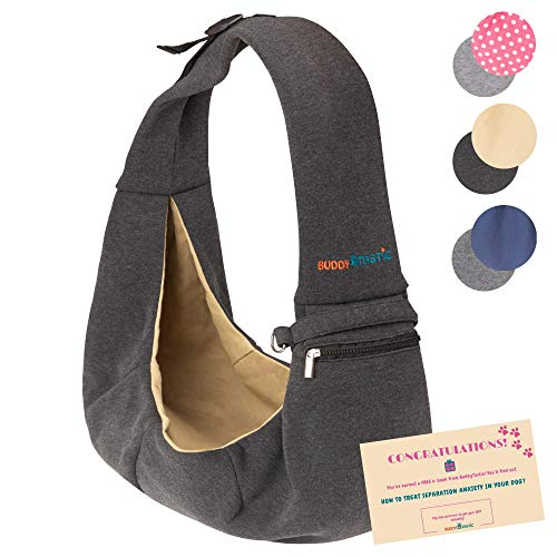 BUDDY TASTIC Pet Sling Carrier - Reversible and Hands-Free Dog Bag with Adjustable Strap and Pocket - Soft Puppy Sling for Pets up to 13 lbs (Black/Beige)