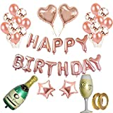 Rose Gold Balloons Decorations Set Birthday Party Decorations Happy Birthday Banner 12'' Rose Gold Balloon and Champagne Bottle Goblet Star Heart Foil Balloons with Gold String for Party Supplies