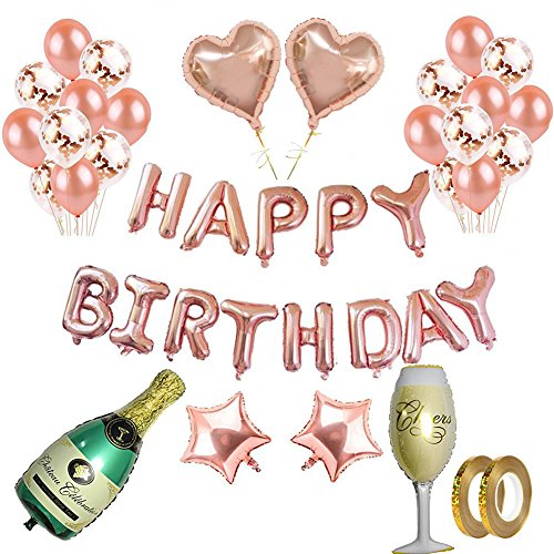 (Rose Gold Balloons Decorations Set Birthday Party Decorations Happy Birthday Banner 12