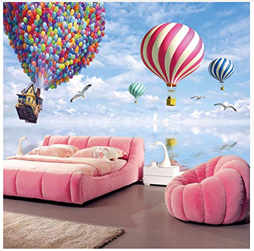 3D Wallpaper Murals Colorful Hot Air Balloon Pattern S Wallpapers Living Room Bedroom Kids Room Tv Sofa Background Decorative Wallpapers Silk Cloth 200X140cm,Ayzr by Ayzr