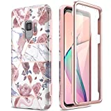 SURITCH Case for Galaxy S9, [Built-in Screen Protector] Rose Gold Marble Full-Body Protection Shockproof Rugged Bumper Protective Cover for Samsung Galaxy S9 5.8 Inch (Rose Marble)