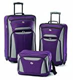 American Tourister Luggage 3-Piece Set, Purple/Grey