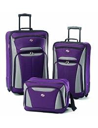 American Tourister juego de equipaje Fieldbrook II de 3 piezas, Púrpura, gris, Una talla