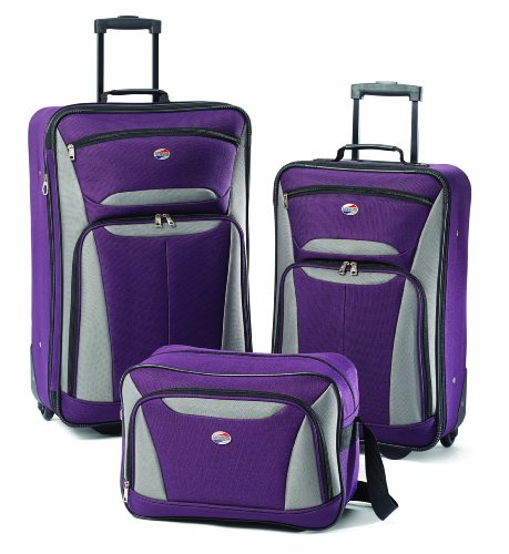 American Tourister Luggage Fieldbrook Ii 3 Pc Set, Purple/Grey American Tourister Luggage Set