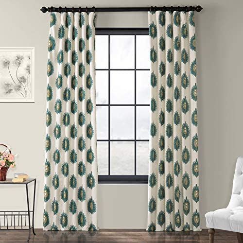 HPD Half Price Drapes PRTW-D02-108 Printed Cotton Curtain 1 Panel