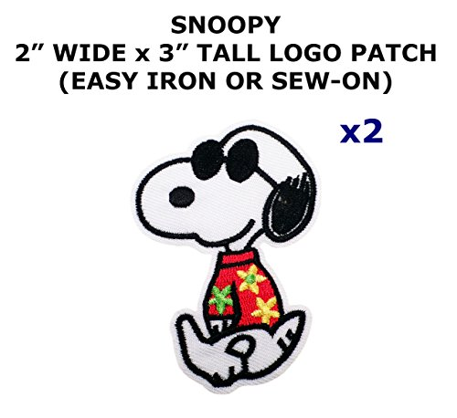 [2 PCS Tourist Snoopy Peanuts Cartoon Theme DIY Iron / Sew-on Decorative Applique Patches] (Snoopy Costume Diy)