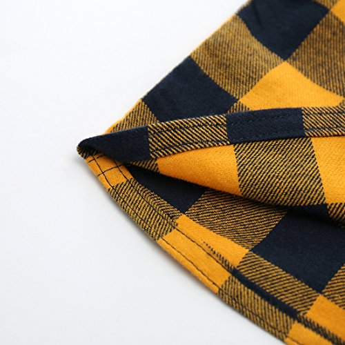 MOMOLAND Baby Boys Woven Short Sleeve Tee Checked Shirt Yellow