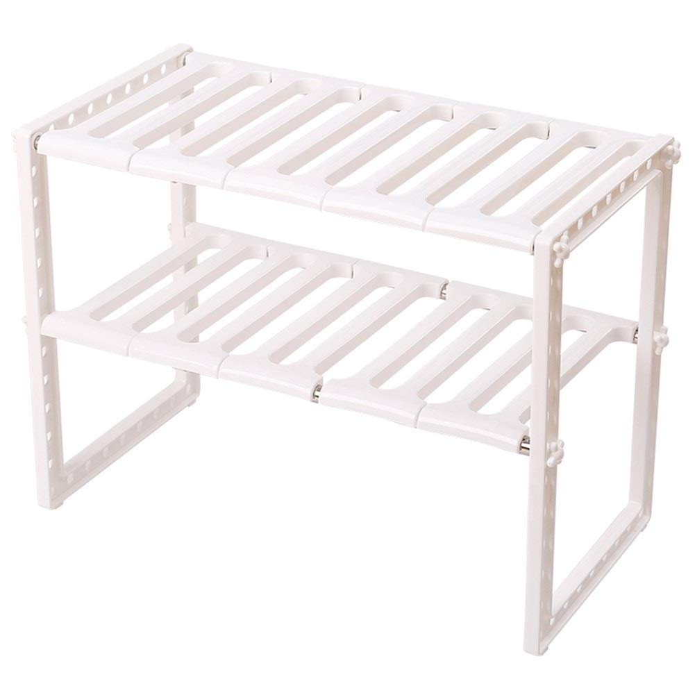 Retractable Stainless Steel Shelf Multilayer Plastic Storage Rack Removable Firm 263838~70CM (Color : 263838~70cm)