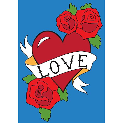 Magnolia Garden LOVE Banner and Red Roses Heart 42 x 29 Rectangular Double Applique Large House Flag