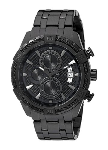 GUESS Men's U0522G2 Stainless Steel Black Ionic Plated Chronograph Watch with Date Function