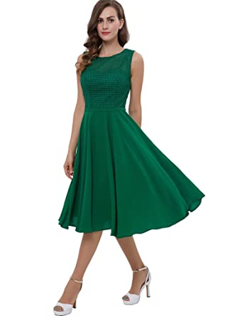 54ee0660028 Sisjuly Women s Straps A-Line Casual Lace Tea-Length Cocktail Dress 8 Green  at Amazon Women s Clothing store