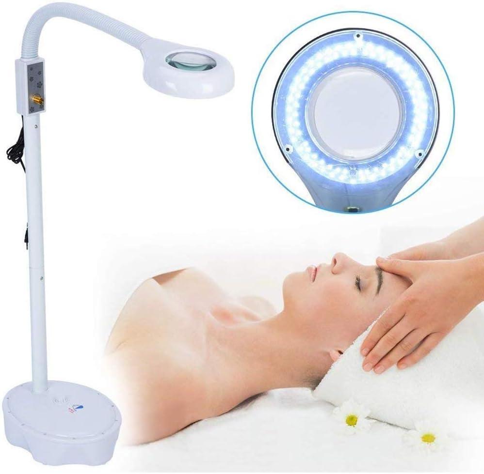 DFEDCLL Lámpara LED De Lupa 3X Lámpara De Pie De Luz Blanca La Manguera Flexible Puede Ajustarse En Altura, para Salon SPA Beauty Makeup Skincare Nail Tattoo Magnifying Tool (Blanco)